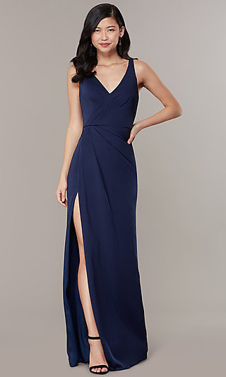 Long JVNX by Jovani Mock-Wrap V-Neck Prom Dress