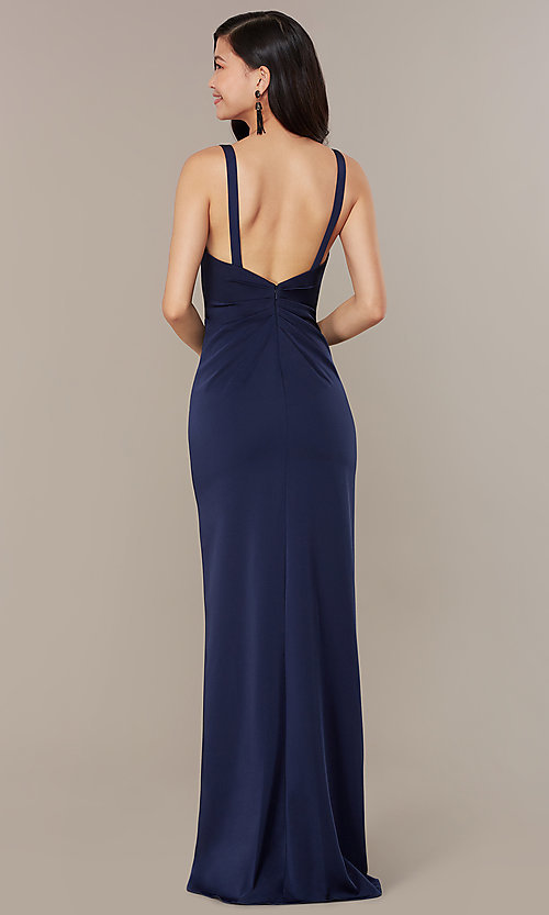 Image of long JVNX by Jovani mock-wrap v-neck prom dress. Style: JO-JVNX58378 Back Image