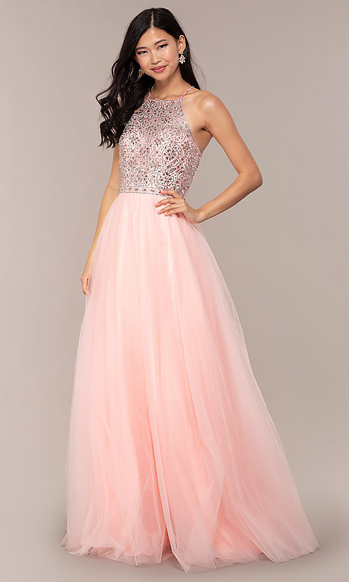 Image of JVNX by Jovani long tulle prom dress. Style: JO-JVNX67060 Front Image