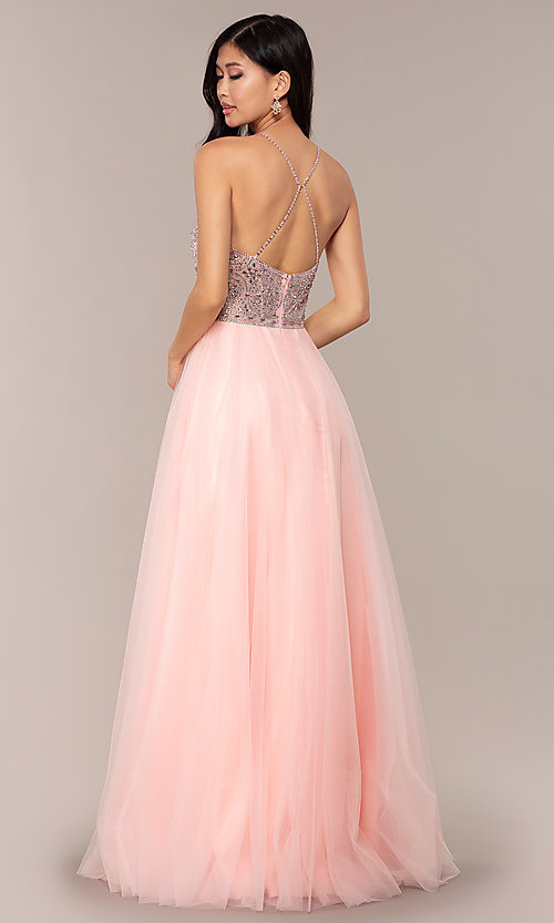 Image of JVNX by Jovani long tulle prom dress. Style: JO-JVNX67060 Back Image