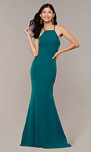 Image of JVNX by Jovani long emerald green mermaid prom dress. Style: JO-JVNX69971 Back Image