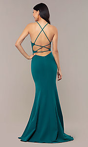 Image of JVNX by Jovani long emerald green mermaid prom dress. Style: JO-JVNX69971 Front Image