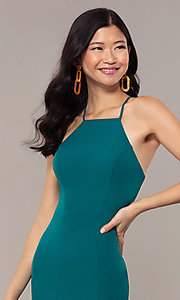 Image of JVNX by Jovani long emerald green mermaid prom dress. Style: JO-JVNX69971 Detail Image 1