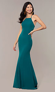 Image of JVNX by Jovani long emerald green mermaid prom dress. Style: JO-JVNX69971 Detail Image 3