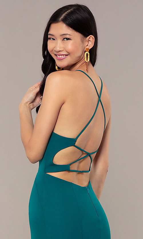 Image of JVNX by Jovani long emerald green mermaid prom dress. Style: JO-JVNX69971 Detail Image 2