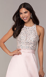 Image of long a-line prom dress from JVNX by Jovani. Style: JO-JVNX66719 Detail Image 1