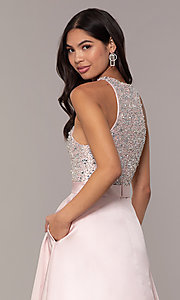 Image of long a-line prom dress from JVNX by Jovani. Style: JO-JVNX66719 Detail Image 2