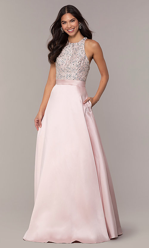 Image of long a-line prom dress from JVNX by Jovani. Style: JO-JVNX66719 Front Image