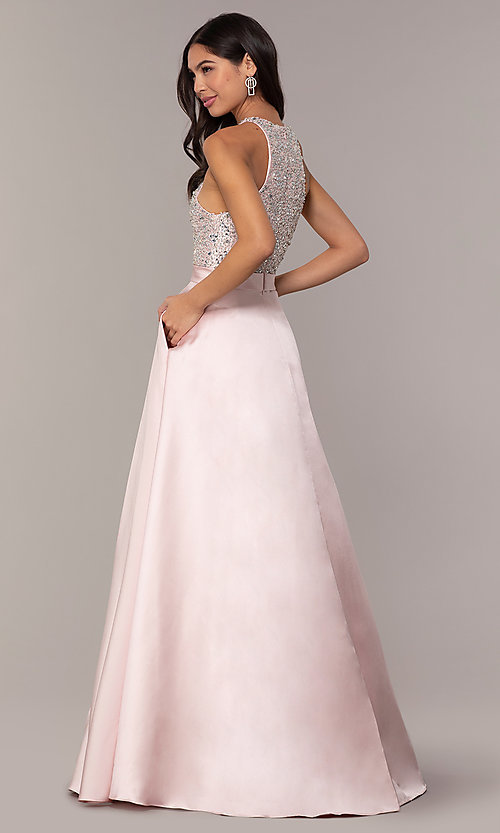 Image of long a-line prom dress from JVNX by Jovani. Style: JO-JVNX66719 Back Image