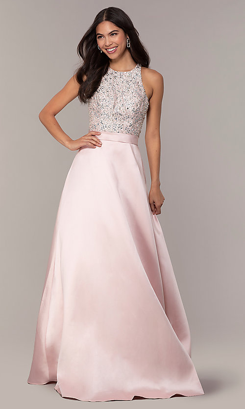 Image of long a-line prom dress from JVNX by Jovani. Style: JO-JVNX66719 Detail Image 3