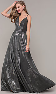 Image of long formal v-neck JVNX by Jovani prom dress. Style: JO-JVNX67517 Detail Image 3