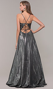 Image of long formal v-neck JVNX by Jovani prom dress. Style: JO-JVNX67517 Detail Image 4