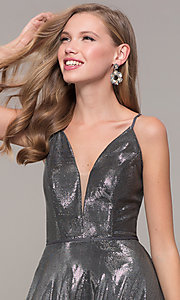 Image of long formal v-neck JVNX by Jovani prom dress. Style: JO-JVNX67517 Detail Image 5