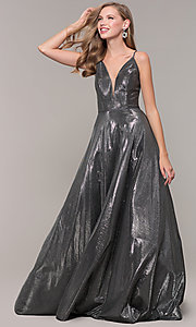 Image of long formal v-neck JVNX by Jovani prom dress. Style: JO-JVNX67517 Detail Image 7