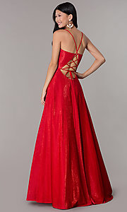 Image of long formal v-neck JVNX by Jovani prom dress. Style: JO-JVNX67517 Front Image