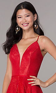 Image of long formal v-neck JVNX by Jovani prom dress. Style: JO-JVNX67517 Detail Image 1