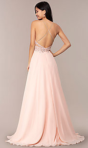 Image of long high-neck open-back JVNX by Jovani prom dress. Style: JO-JVNX62595 Back Image