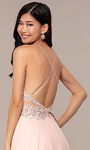 Image of long high-neck open-back JVNX by Jovani prom dress. Style: JO-JVNX62595 Detail Image 2