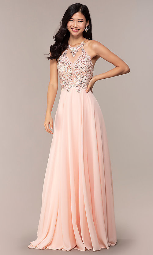Image of long high-neck open-back JVNX by Jovani prom dress. Style: JO-JVNX62595 Front Image