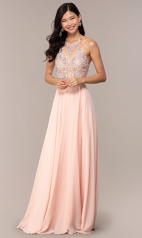 Image of long high-neck open-back JVNX by Jovani prom dress. Style: JO-JVNX62595 Detail Image 3