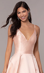 Image of long v-neck corset-back JVNX by Jovani prom dress. Style: JO-JVNX66673 Detail Image 1