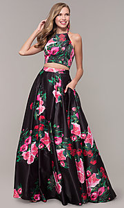 Image of two-piece JVNX by Jovani floral-print prom dress. Style: JO-JVNX68872 Front Image