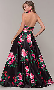 Image of two-piece JVNX by Jovani floral-print prom dress. Style: JO-JVNX68872 Back Image