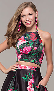 Image of two-piece JVNX by Jovani floral-print prom dress. Style: JO-JVNX68872 Detail Image 1