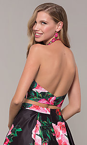 Image of two-piece JVNX by Jovani floral-print prom dress. Style: JO-JVNX68872 Detail Image 2