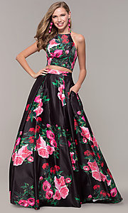 Image of two-piece JVNX by Jovani floral-print prom dress. Style: JO-JVNX68872 Detail Image 3