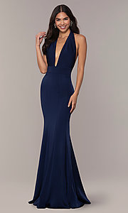 Image of navy blue halter prom dress from JVNX by Jovani. Style: JO-JVNX68874 Front Image