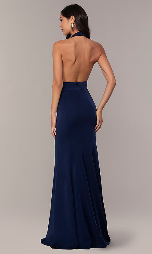Image of navy blue halter prom dress from JVNX by Jovani. Style: JO-JVNX68874 Back Image