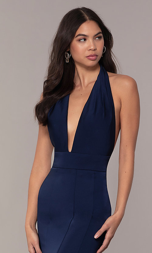 Image of navy blue halter prom dress from JVNX by Jovani. Style: JO-JVNX68874 Detail Image 1