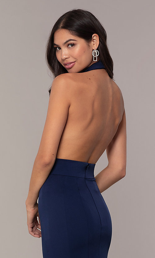 Image of navy blue halter prom dress from JVNX by Jovani. Style: JO-JVNX68874 Detail Image 2