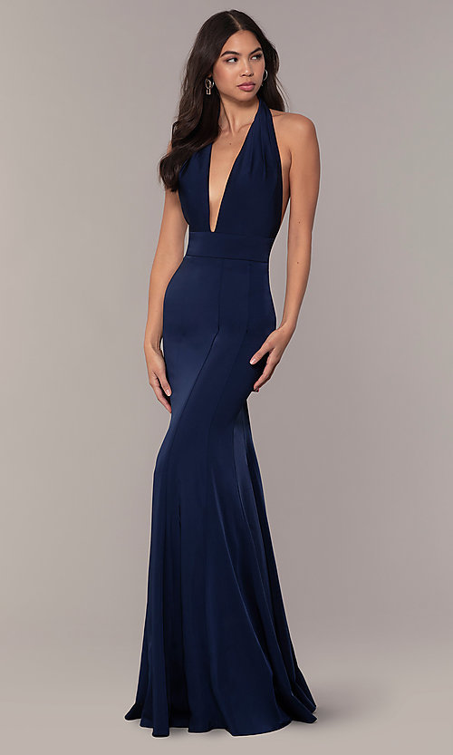 Image of navy blue halter prom dress from JVNX by Jovani. Style: JO-JVNX68874 Detail Image 3