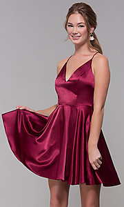 Image of a-line satin v-neck homecoming dress by PromGirl. Style: MCR-PL-2663 Detail Image 4