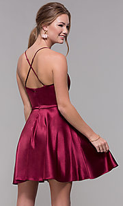 Image of a-line satin v-neck homecoming dress by PromGirl. Style: MCR-PL-2663 Detail Image 5