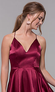 Image of a-line satin v-neck homecoming dress by PromGirl. Style: MCR-PL-2663 Detail Image 6