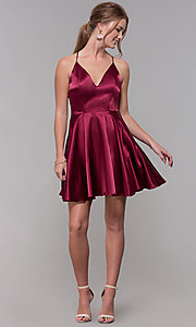 Image of a-line satin v-neck homecoming dress by PromGirl. Style: MCR-PL-2663 Detail Image 8