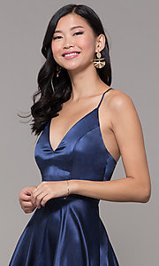 Image of a-line satin v-neck homecoming dress by PromGirl. Style: MCR-PL-2663 Detail Image 1