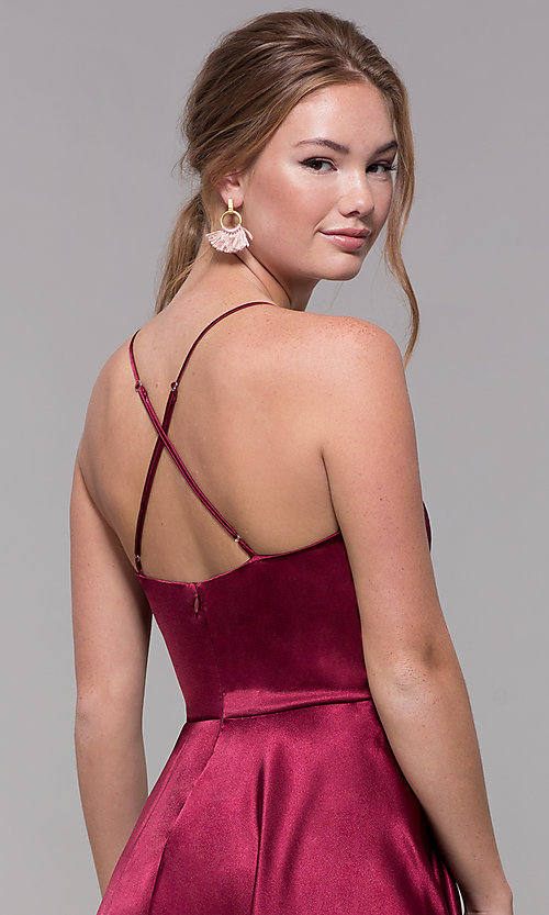 Image of a-line satin v-neck homecoming dress by PromGirl. Style: MCR-PL-2663 Detail Image 7