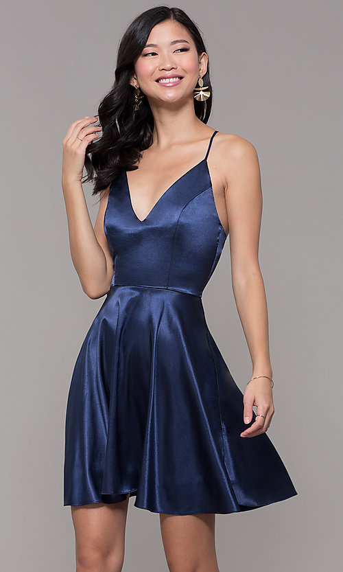 Image of a-line satin v-neck homecoming dress by PromGirl. Style: MCR-PL-2663 Front Image
