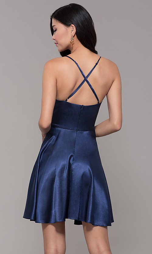 Image of a-line satin v-neck homecoming dress by PromGirl. Style: MCR-PL-2663 Back Image