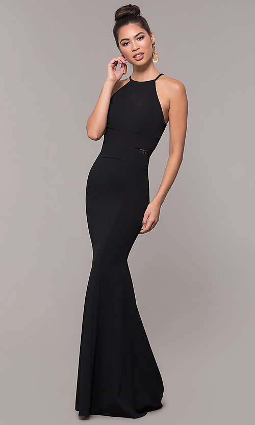 Image of long high-neck lace-back prom dress. Style: MCR-3051 Detail Image 4