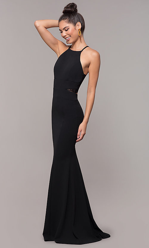 Image of long high-neck lace-back prom dress. Style: MCR-3051 Detail Image 3
