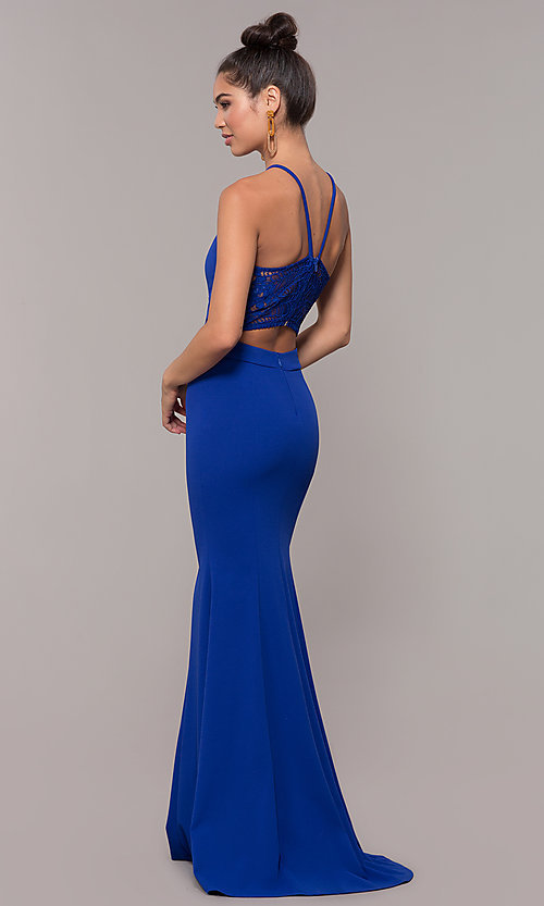 Image of long high-neck lace-back prom dress. Style: MCR-3051 Detail Image 5