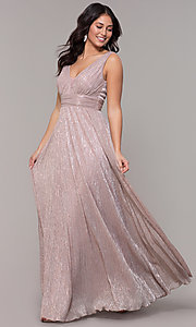 Image of metallic deep-v-neck long prom dress with ruching.  Style: MCR-3020 Front Image