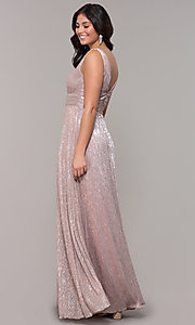 Image of metallic deep-v-neck long prom dress with ruching.  Style: MCR-3020 Back Image