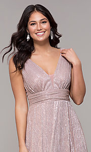 Image of metallic deep-v-neck long prom dress with ruching.  Style: MCR-3020 Detail Image 1