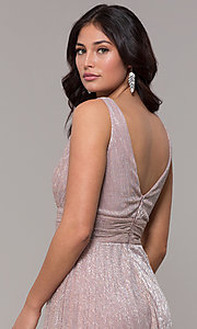 Image of metallic deep-v-neck long prom dress with ruching.  Style: MCR-3020 Detail Image 2